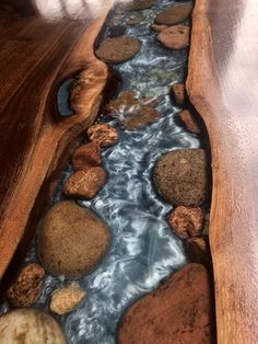 Walnut live edge river table with stone and leaves - woodworking - Epoxy Ideas Diy Resin Table, Epoxy Wood Table, Epoxy Resin Table, Epoxy Table Top, Diy Epoxy, Wood Tables, Resin Crafts, Resin Art, Wood Crafts