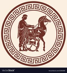 Greek style drawing pano with national ornament. warrior in tunic equips horses. Free Vector Images, Vector Art, Greek Drawing, Victorian Illustration, Shield Design, Logo Line, Art Icon, Free Illustrations, Pattern Books