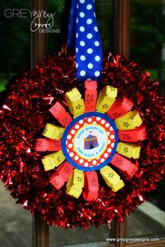 GreyGrey Designs: {My Parties} TJ and Taylor's Circus Birthday Party. I made this cute welcome wreath out of tickets from Oriental Trading and cute printables from Chickabug. All it takes is a little hot glue and an hour. Clown Party, Circus Theme Party, Carnival Birthday Parties, Circus Birthday, First Birthday Parties, Birthday Party Decorations, Birthday Ideas, 13th Birthday, Themed Parties