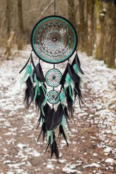 Your place to buy and sell all things handmade Black dream catcher, large dream catcher, gothic dream catcher, unique dream catcher, feather dreamc Grand Dream Catcher, Big Dream Catchers, Dream Catcher Decor, Beautiful Dream Catchers, Black Dream Catcher, Large Dream Catcher, Dream Catcher Boho, Dream Catcher Mobile, Feather Dream Catcher
