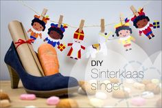 DIY: Sinterklaas versiering Slinger, inclusief uitleg en gratis printable om de slinger zelf makkelijk te knutselen :-).