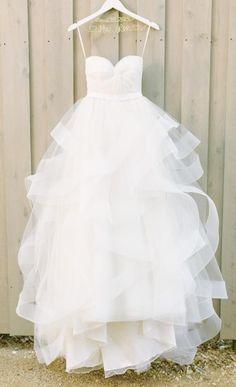 Spaghetti Strap Tulle Sweetheart Wedding Dress,A-Line Wedding Dress with Ruffles Horsehair Hemline,Summer Wedding Dress