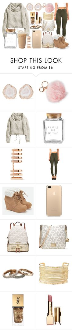 """""""NUDE much?"""" by nittany188 ❤ liked on Polyvore featuring Kimberly McDonald, Alexia Crawford, H&M, Kate Spade, Repossi, Vibrant, JustFab, Michael Kors, MICHAEL Michael Kors and Charlotte Russe"""