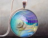 Dreaming in Color abstract art pendant, resin jewelry, shell necklace charm, photo pendant