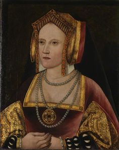 Katherine of Aragon (Whoa--did the artist dislike this woman or something?)  by Unknown artist oil on oak panel, circa 1520 20 1/2 in. x 16 1/2 in. (520 mm x 420 mm)