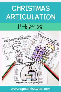 R Articulation Activities: This no prep resource is great for Christmas themed articulation therapy! This packet is great for speech therapy mixed groups and for sending as homework. This packet features r-blends. | Speech is Sweet