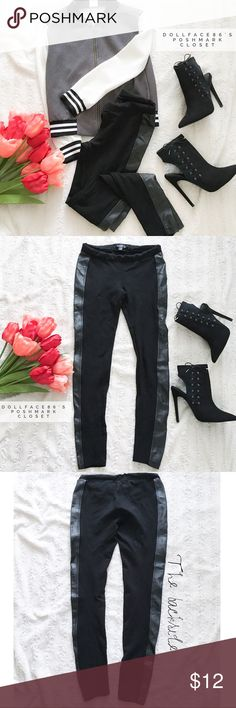 """Faux Leather Trim Leggings ✦  NO OFFERS ACCEPTED ON THIS ITEM. BUNDLE FOR DISCOUNT  ✦{I am not a professional photographer, actual color of item may vary ➾slightly from pics}  ❥Waist:14"""" ❥Hips:15.5"""" ❥length:34"""" ❥inseam:26"""" ➳material/care:rayon+nylon+5%spandex/machine wash  ➳fit:closer to women's xs in my opinion  ➳condition:has light balling on interior waist/pre-loved w/no other major signs of wear  ✦20% off bundles of 3/more items ✦No Trades ✦NO HOLDS ✦No transactions outside Poshmark ✦No…"""