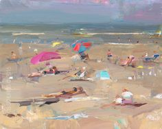 Seascape Plein air Summer Beach -2015 Roos Schuring, I love this one because of the red and blue umbrella, the pink one creating the orange shadow, the g...