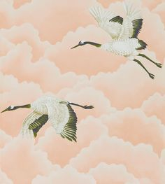 Cranes In Flight Blush wallpaper by Harlequin