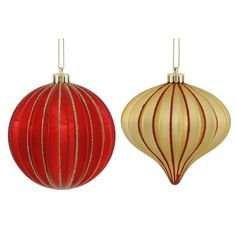 """9ct Red & Soft Gold Glitter Striped Shatterproof Christmas Onion and Ball Ornaments 4"""""""" (100mm)"""