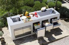 70 Awesomely clever ideas for outdoor kitchen designs kitchen BBQ Outdoor Bbq Kitchen, Outdoor Kitchen Countertops, Patio Kitchen, Summer Kitchen, Outdoor Kitchen Design, Outdoor Cooking, Outdoor Kitchens, Outdoor Barbeque, Kitchen Island
