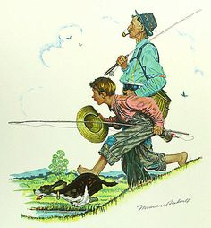 Norman Rockwell-Four Seasons calender: Grandpa And Me Gone Fishing (1948)