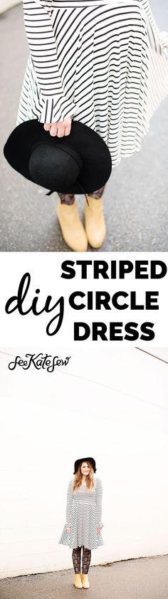 Penelope Peplum Circle Dress | sewingproject patterns | sewingproject kits | diy dresses | hand sewn dress patterns | striped dress patterns | diy clothing ideas || See Kate Sew #sewingpatterns #sewingproject #diyfashion