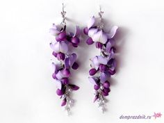 Earrings with wisteria - All about polymer clay