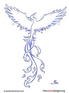 Blue phoenix tattoo design