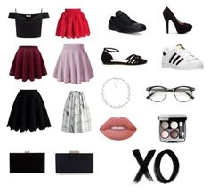 """""""Get ready: red carpet"""" by mrgrdsantos ❤ liked on Polyvore featuring Lipsy, Chicwish, Converse, adidas, Charlotte Olympia, Monsoon, Carolee, ZeroUV, Lime Crime and Chanel"""