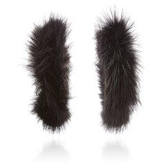 Ranjana Khan Black Mink Hoops (£310) ❤ liked on Polyvore featuring jewelry, earrings, black, hoop earrings, ranjana khan, earring jewelry, ranjana khan earrings and beaded hoop earrings