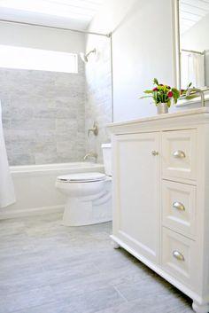 Small bathroom renovation bathroom remodel eek to chic on a budget bathroom decor bathroom bathroom renovations . Bathroom Renos, Basement Bathroom, Bathroom Flooring, Bathroom Remodeling, Bathroom Mirrors, Remodeling Ideas, Bathroom Interior, Bathroom Grey, Bathroom Cabinets