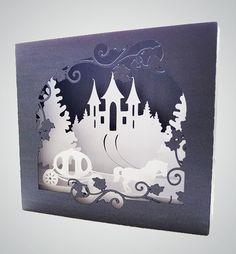 Cheval et chariot Shadow Box carte plis plat modèle par MySVGHUT
