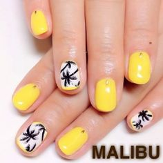 White and yellow Palm Tree Nail Art design. If you want a simple and pretty looking nail art then this is the perfect design. Simple, neat and clean designs and you can see a hint of yellow borders that protects the white colored nails with the palm trees.