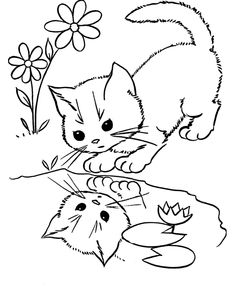 Cat Coloring Pages; Here Is A Small Collection Of Cute Cat Coloring Pages  For Kids That Will Ensure Your That He Has An Amusing Time As He Remembers  His ...