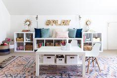 playroom, kids space, stylish playroom, media room, organization, storage