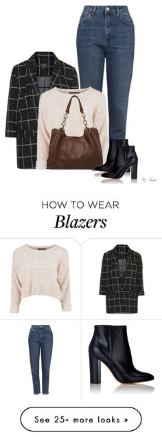 """How to rock ""mom"" jeans."" by ksims-1 on Polyvore featuring Topshop, Wilsons Leather and Gianvito Rossi"