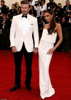 Co-ordinated couple: The Beckham's Victoria Beckham & David Beckham opted for a fashion throwback, once again matching their white outfits, though with considerably more success than in the 90s