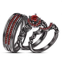 0.96 Carat Red Garnet 14k Black Gold Finish With Bride & Groom Trio Ring Set  #beijojewels