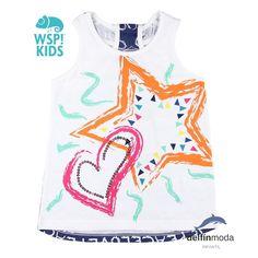 Camiseta de tirantes para niña WSPKIDS estrella y corazón