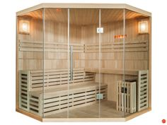 Sauna Traditionnel Finlandais d'angle 4/5 places vitré Gamme prestige IMATRA
