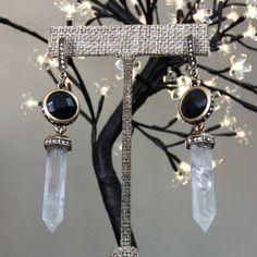Statement Earrings Adorable crystal and black resin drop earrings. Hypoallergenic, lead and nickel free. Ocean Jewelers Jewelry