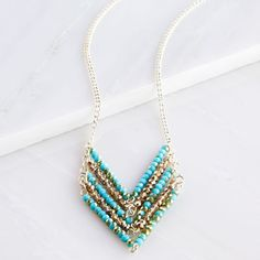 Aqua and Amber Chevron Necklace