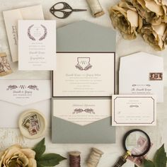 Wreath and Shield Wedding Invitation Suite - Deposit