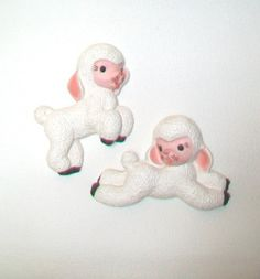 Vintage Chalk Ware Leaping Lambs Nursery Wall Decor