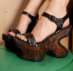 Platform Wedges shoes 9 Wood Leather 90s 70s black never worn Gypsy Goth Witchy Glam Grunge handcrafted carved flowers festival. $210.00, via Etsy.