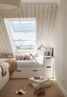 Small Apartment 60 M²: A Place For Holidays Of The Couple And Children - Home Design Ideas Teen Room Decor, Bedroom Decor, Bedroom Modern, Duplex, Attic Renovation, Small Apartments, House Rooms, My Room, Girls Bedroom