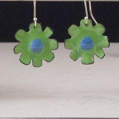 Mod Enamel Flower Earrings by khmetalwork on Etsy, $25.00
