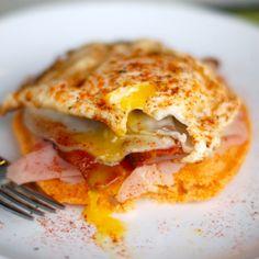 Spicy Corn Cake Breakfast Stack. Full recipe