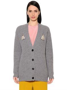 ROCHAS Embellished Ribbed Knit Cardigan, Grey. #rochas #cloth #knitwear