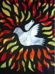 """Pentecost tissue paper """"stained glass"""" art project LLM Calling: Pentecost crafts"""
