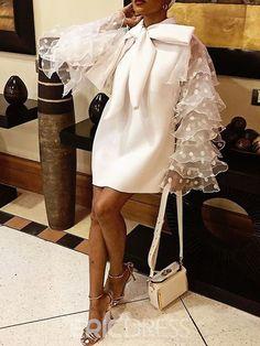 Big Size Party Ol Lady Orange Vintage High Street Women Mini Dresses Casual Ruffle Sleeve Mesh Bow Dress Size M Color Orange Elegant Dresses, Casual Dresses, Short Dresses, Chic Outfits, Dress Outfits, Fashion Outfits, Bow Dresses, Mini Dresses, African Fashion Dresses