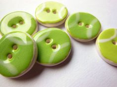 Handmade Tennis Ball Buttons, Ceramic Sports Buttons, Athlete Sewing Buttons, High School Teen Sports, Round Green Button, Gift for Athlete
