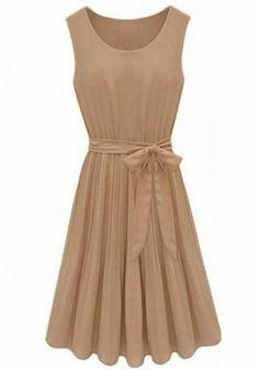 Coffee Sleeveless Pleated Belt Chiffon Dress pictures