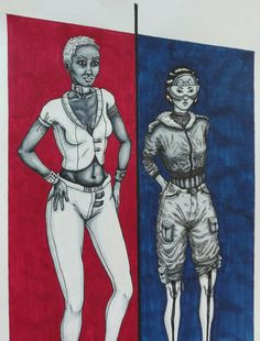 #drawing #art #pen #marker #copic #micron #cyberpunk #character #design #clothes #fashion #blue #red #poster #women