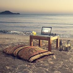 sea beach relax chill out Summer Pinterest, Diy Image, Beach Office, Summer Office, Summer Work, Summer Sun, Low Tables, Forever Living Products, Coworking Space