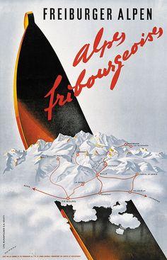 vintage ski poster - Alpes Fribourgeoises Martin Peikert