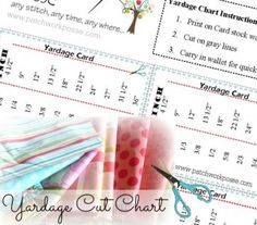 yardage chart printable. Know what you need cut at the fabric counter. patchworkposse