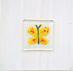 """Spira design - Board with glass decoration """"Yellow butterfly"""""""