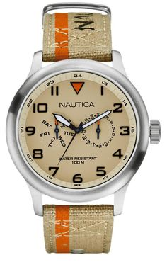 Nautica - BFD 103 w/ taupe faceplate & band, brushed steel bezel & abutments, carrot noon index & band stripe